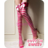 Opaque Striped Thigh High with Strawberry Bow
