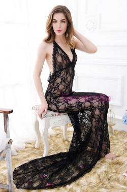 Once Upon A Time Sexy Lace Black Gown Set