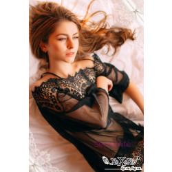 Romantic Long Sleeeve Lace Black Chemise