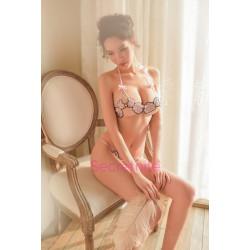 Floral Applique Pink Bra Set