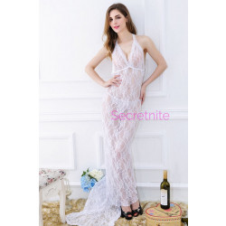 Once Upon A Time Sexy Lace White Gown Set