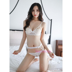 Sexy Lace Open Cup White Bra Set with Garter Belt