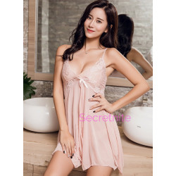 Simply Cute Sexy Netted Flyaway Babydoll Set Nude