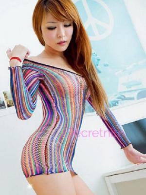 Colorful Long Sleeve Mini Dress