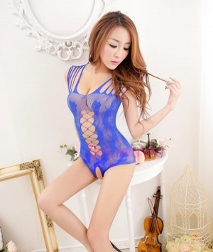 Intricate Strappy Open Crotch Blue Teddy