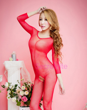 Long Sleeve Red Bodystocking
