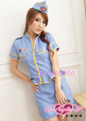 After Hours Sky Blue Stewardess Costumes
