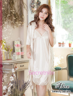 Deluxe Satin Gold Robe Beautiful Chemise