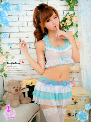 Halter Short Lingerie with Skirt