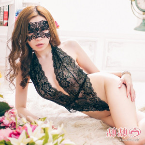 Lustful Kiss Lacy Black Teddy with Eye Mask