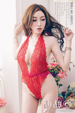 Lustful Kiss Lacy Red Teddy with Eye Mask