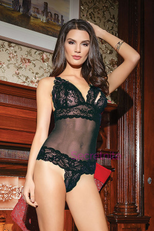 Open Cup and Lace Black Teddy