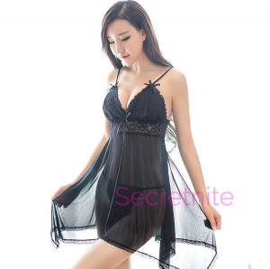 Lace Black Babydoll with Mesh Cups and Thong