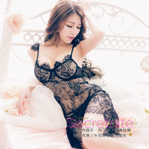 Romantic Lace Underwire Black Babydoll