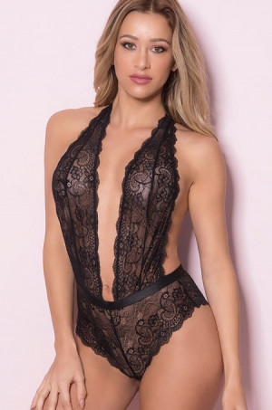 Plunging Lace Halter Black Teddy