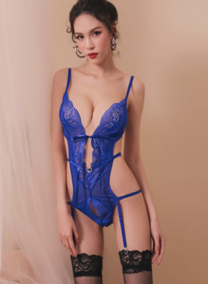 Midnight Dream Lace Blue Sexy Teddy