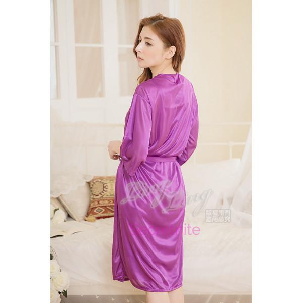 Deluxe Satin Purple Robe Beautiful Chemise