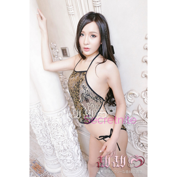 China Lace Black Apron Lingerie Set