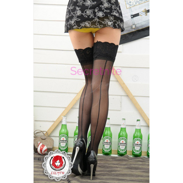 Lace Top Sheer Contrast Cuban Heel Stockings