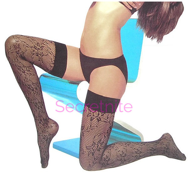 Spandex Floral Thigh Highs with Elastic Top